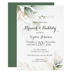 Floral Green Gold Brunch & Bubbly Baby Shower Invitation