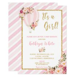 Floral Hot Air Balloon Baby Shower Invitation Girl