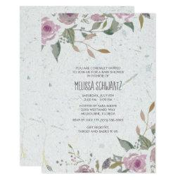 Floral Plum Flower Recycled Baby Shower Invitation