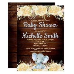 Floral Rustic Blue Boy Wood Elephant Baby Shower