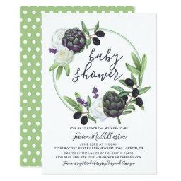 Floral Rustic Olive Wreath Navy | Baby Shower
