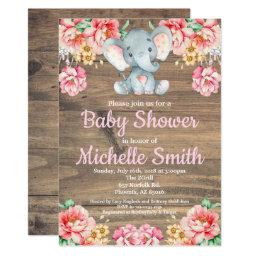 Floral Rustic Pink Girl Wood Elephant Baby Shower