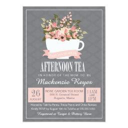 Tea party baby shower invitations babyshowerinvitations4u floral teacup afternoon tea baby or baby shower filmwisefo