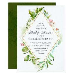 Floral Wild Green Foliage Baby Shower Invitations