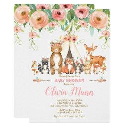 Floral Woodland Animals Baby Shower Forest Girl Invitation
