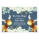 Floral Woodland Moose Twin Boys Baby Shower