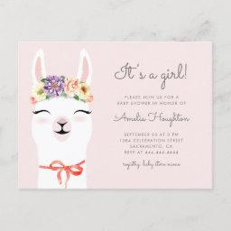 Flower Crown & Llama Girl Baby Shower Invitation Postinvitations