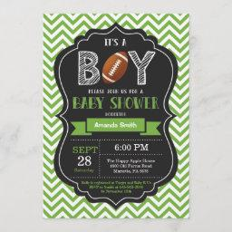 Football Baby Shower Invitation Boy Green Chevron