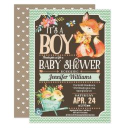 Fox Baby Shower Invitation, Woodland Boy