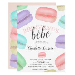 French Macarons Glitter Watercolor Baby Shower Invitation