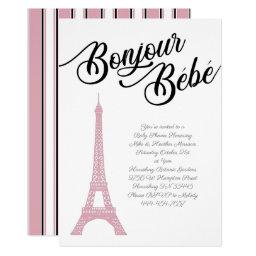 French Paris Pink Baby Shower Girl Parisienne Invitation
