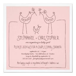 Funky Birds Modern Family Couples Girl Baby Shower Invitation