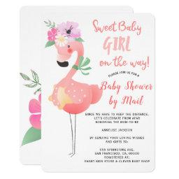 Funny Cute Pink Flamingo Baby Shower By Mail Invitation