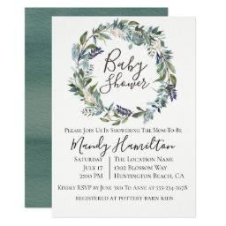 Garden Greenery Wreath Baby Shower Invitation