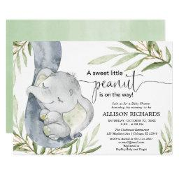 Gender Neutral Baby Shower, Elephant Greenery Gold Invitation
