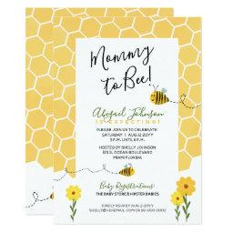Gender Neutral Honeycomb Mommy To Bee Baby Shower Invitation