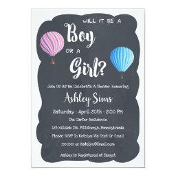 Gender Reveal Balloon Baby Shower Invitations