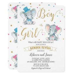 Gender Reveal Elephant Baby Boy Or Baby Girl Gold Invitation
