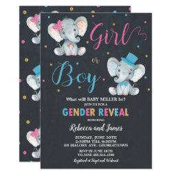 Gender Reveal Elephant Baby Boy Or Baby Girl Invitation