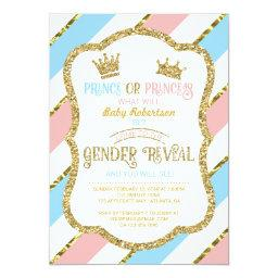 Gender Reveal Invite, Prince, Princess, Faux Gold