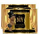 Gentleman Baby Shower Black Gold Drapes Ethnic Invitation