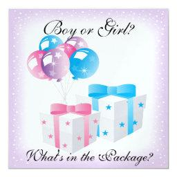 Gifts and Balloons Baby Gender Reveal Party Invit