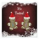 Gingerbread Twins Christmas Baby Shower Invitation