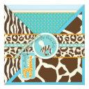 Giraffe & Pacifier Safari Animal Print Baby Shower Invitation