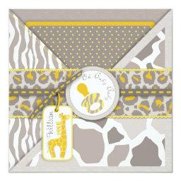 Giraffe Safari Pacifier Couples Baby Shower Invitation