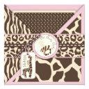 Giraffe Safari Pink Baby Shower Invitations