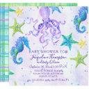 Girl Baby Shower Beach Starfish Octopus Seahorse Invitations