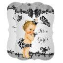 Girl Baby Shower Butterfly Black White Blonde