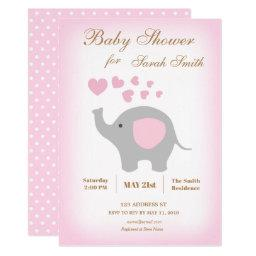 Girl Baby Shower  Elephant Pink Hearts