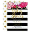 Girl Baby Shower Invitation - Floral Black White
