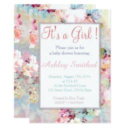 Girl  Pink Teal Watercolor Chic Floral