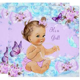 Girl Baby Shower Teal Purple Butterfly Brunette
