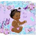 Girl Baby Shower Teal Purple Butterfly Ethnic