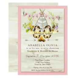 Girl Baby Shower Woodland Forest Teepee Hedgehogs