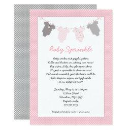 Girl Baby Sprinkle Clothesline Invitation