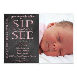 Girl Chalkboard Photo Sip And See Invitations