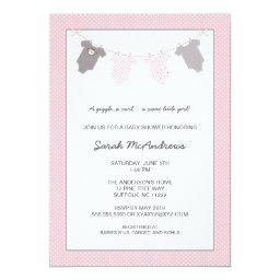 Girl Clothesline Baby Shower / pink grey