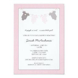 Girl Clothesline Baby Shower / Pink Grey Invitation