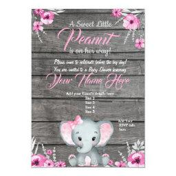 Girl Elephant Baby Shower Invitation, Rustic, Pink Invitation