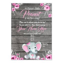 Girl Elephant Baby Shower Invitations, Rustic, Pink Invitations