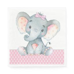 Girl Elephant Baby Shower Paper Napkins