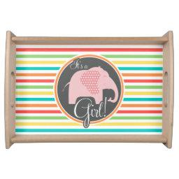 Girl Elephant, Bright Rainbow Stripes Serving Tray