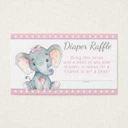 Girl Elephant Diaper Raffle Tickets