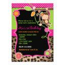 Girl Monkey Safari Chic Jungle Bright Invitation