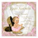 Girl Shoe Pink Gold Glitter Pearl Baby Shower Invitations