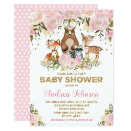 Girl Woodland Baby Shower Forest Animals Pink Gold